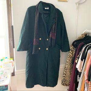 🌲Vintage Dark Green Long Pea Coat w/ Scarf